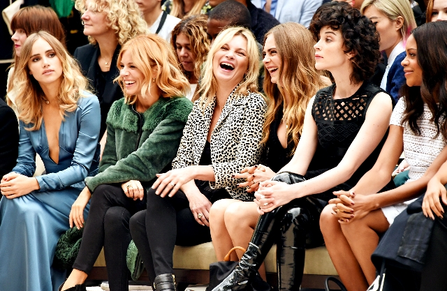 attend the Burberry Womenswear Spring/Summer 2016 show during London Fashion Week at Kensington Gardens on September 21, 2015 in London, England.