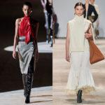 2020-21秋冬コレクション  ~Skirt (スカート) クラシックなタイトには深いスリットが鉄則。光沢ブラウスがコンサバムードを一新。マーメイドは裾に揺れるボリュームを持たせて。